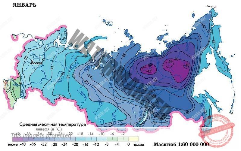 Средние температуры в России в январе