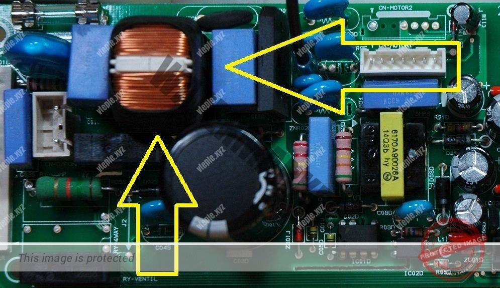Трансформатор на плате внутреннего блока кондиционера LG