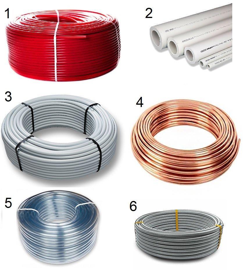 Виды труб для теплого водяного пола: из сшитого полипропилена, полипропиленовые, металлопластиковые, медные, алюминиевые, из нержавеющей стали
