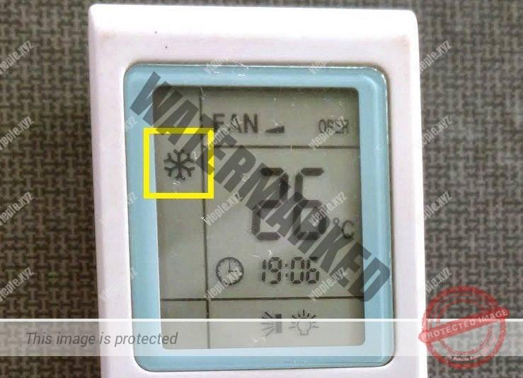 Обозначение режима Cool на экране пульта кондиционера