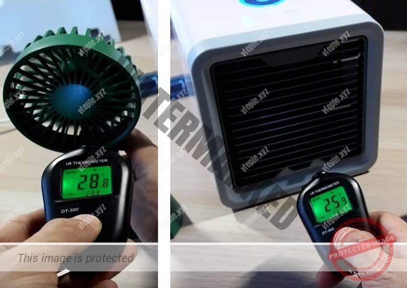 Разница температур между обычным вентилятором и Arctic Air